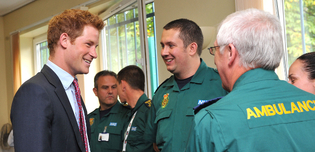 Royal Visit Prince Harry visit Salford Ambulance Station Pic by Steve Allen