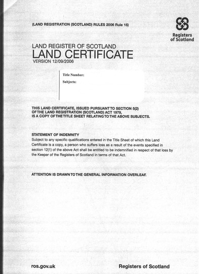A Land Ownership Deed Certificate Example RSZ