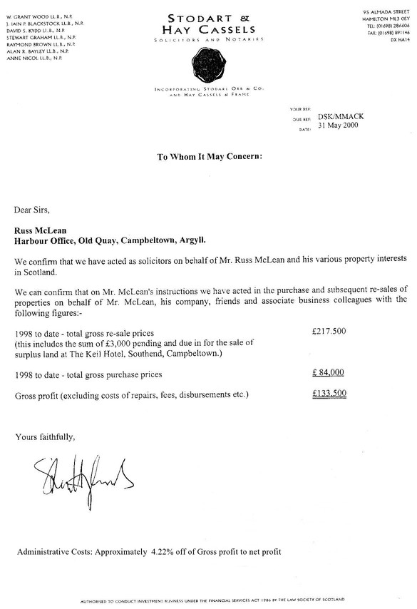 AAA Solicitors Statement of Account 1998
